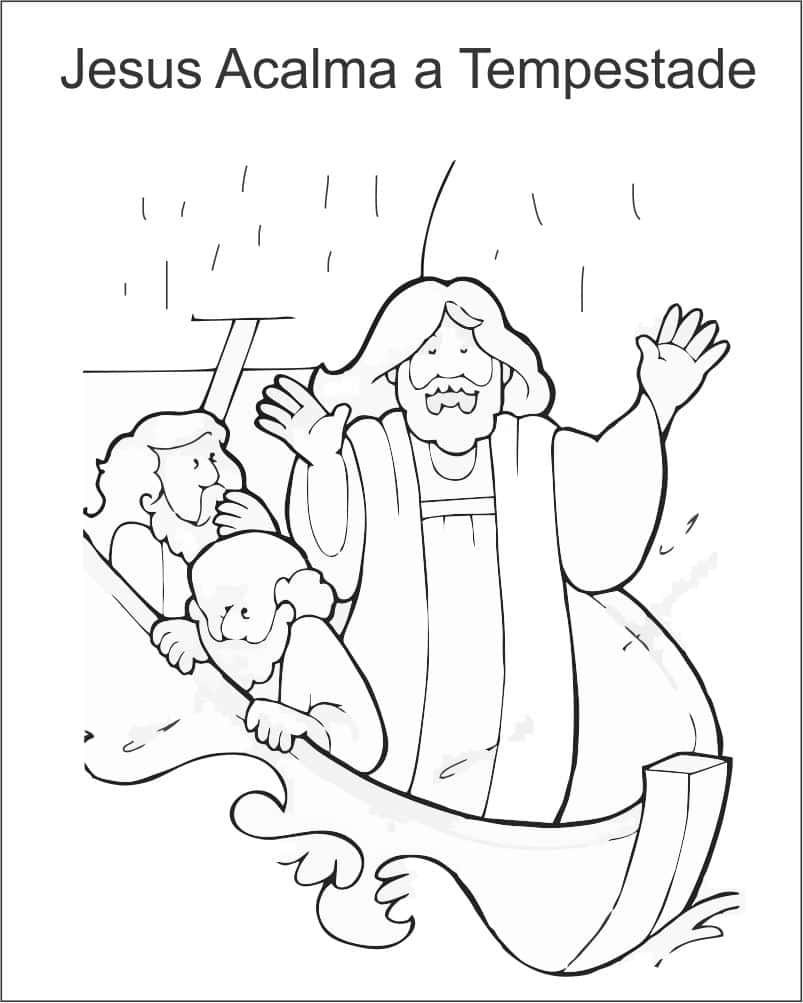 pintar desenho de jesus acalmando a tempestade